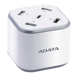 ADATA CHARGING STATION with 5 USB PORTS USB-A with Qualcomm USB3.0 and USB-C - ACU0480QCPS-CAUWH