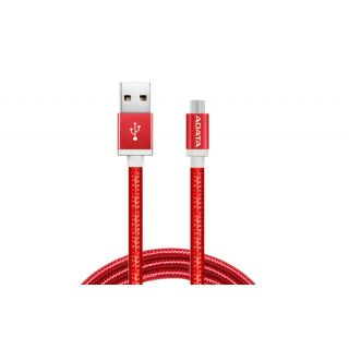 ADATA MicroUSB CABLE ALUMINIUM/KNIT RED - AMUCAL-100CMK-CRD