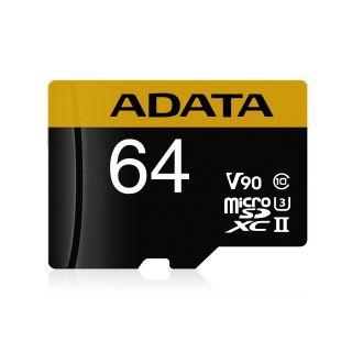 64GB ADATA Premier ONE microSDXC UHS-II U3 Class 10 (retail w/adaptor) -  AUSDX64GUII3CL10-CA1