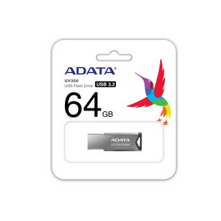 ADATA 64GB UV350 FLASH DRIVE USB3.2 - AUV350-64G-RBK